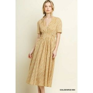 umgee vintage inspired floral midi day dress